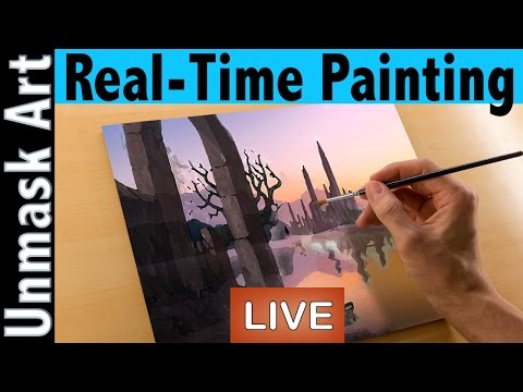 How to Paint a Sunset | Real Time Painting Fantasy Landscape
