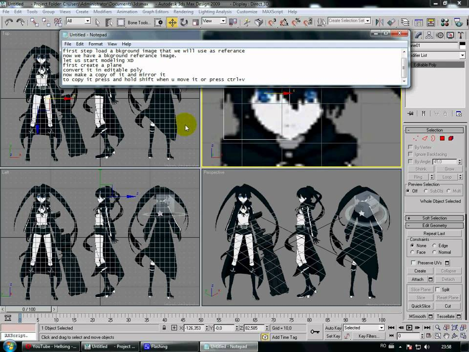 Character Design Tutorial 3ds Max : Ds max low poly anime face tutorial avi youtube