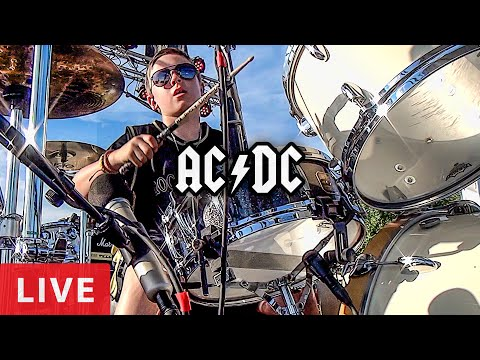 AC/DC - LIVE (10 year old Drummer) Avery Drummer & Big Jack