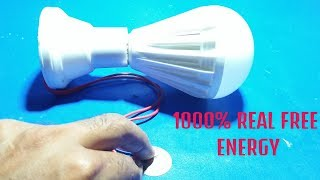 how to make 100% Real Free energy lightbulb using electric doorbell speaker