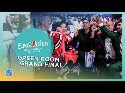 Reactions in the green room during the Grand Final of the 2018 Eurovision Song Contest
