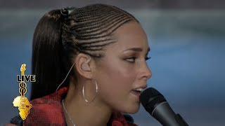 Alicia keys performing at live 8 in philadelphia's benjamin franklin parkway on the 2nd july, 2005. organised by sir bob and band aid trust to raise mone...