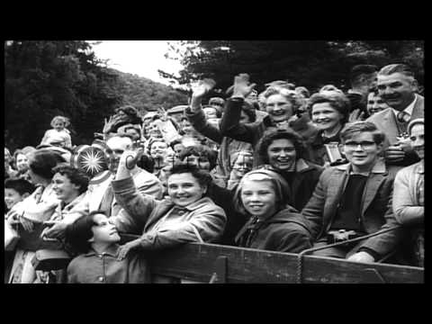 US President Dwight D Eisenhower arrives in London and being greeted by Queen Eli...HD Stock Footage