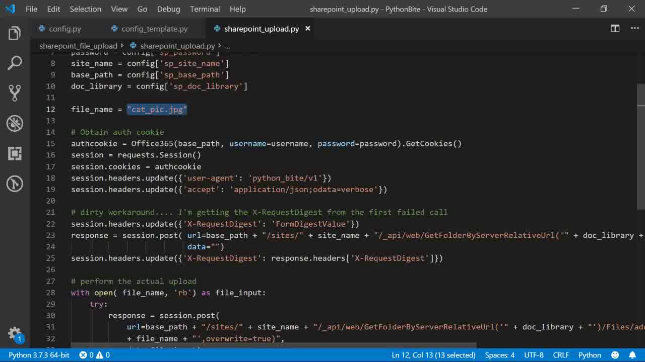 Python Bite - upload file to Sharepoint Online with Python
