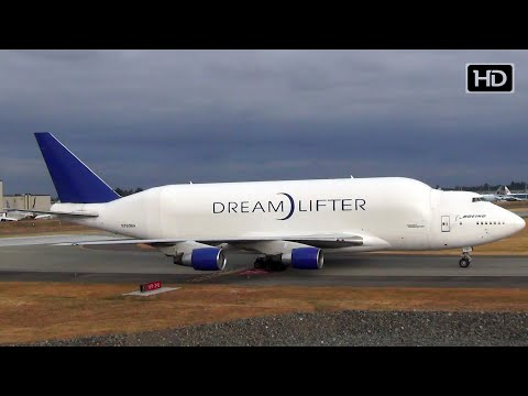 GIANT Boeing 747 DreamLifter Taxi In at Paine Field