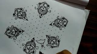 Rangoli designs...navratri...devi maa...latest N creative...15 to 8 dots