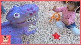 쥬라기 키즈 카페 물고기 잡기 놀이 키네틱 모래 편백 나무 ♡ 용인 다이노스타 유니반응 테마파크 어린이 장난감 놀이 Dinostar Park | 말이야와아이들 MariAndKids