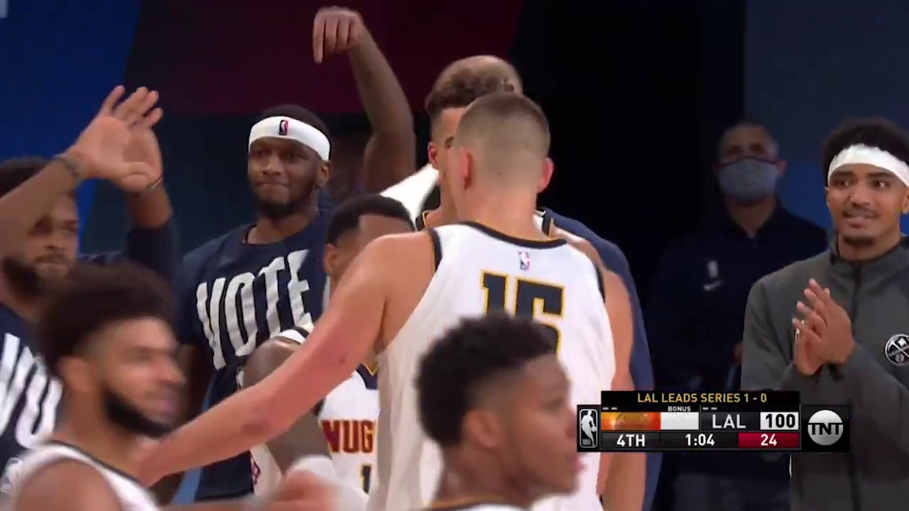 Nikola Jokic makes it a 1 point game with the 3 after Murray's behind the back pass | Game 2
