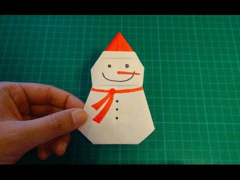 origami snowman youtube. Black Bedroom Furniture Sets. Home Design Ideas