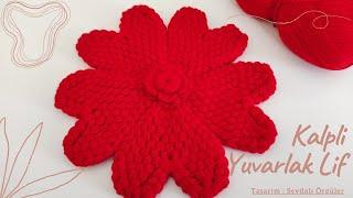 Tığ İşi Puf Kalpli Yuvarlak Lif Super Easy Knitting Crochet Pattern Made DIY TasarımSevdalı Örgüler