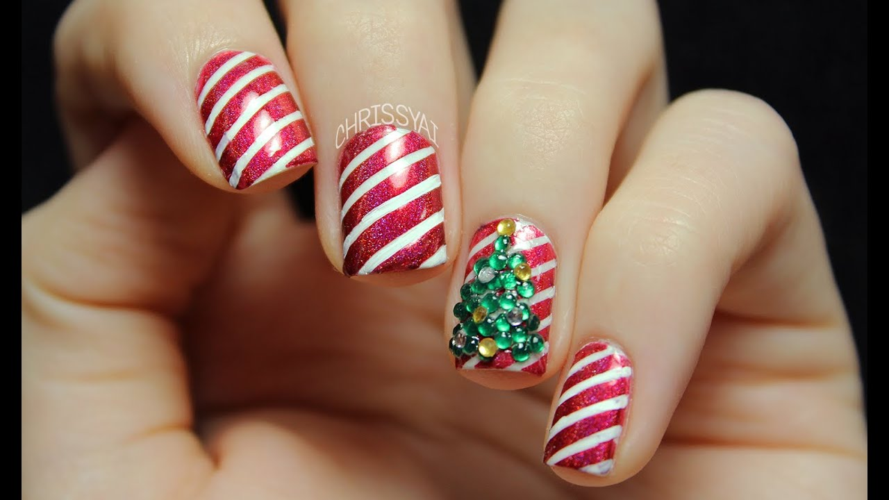 Candy Cane Stripes & 3D Christmas Tree Nail Art - YouTube