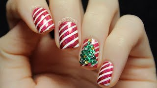 Candy Cane Stripes & 3d Christmas Tree Nail Art