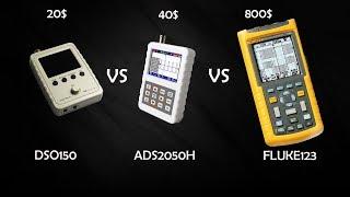 Обзор осциллографа ADS2050H, сравнение с DSO150 и FLUKE123