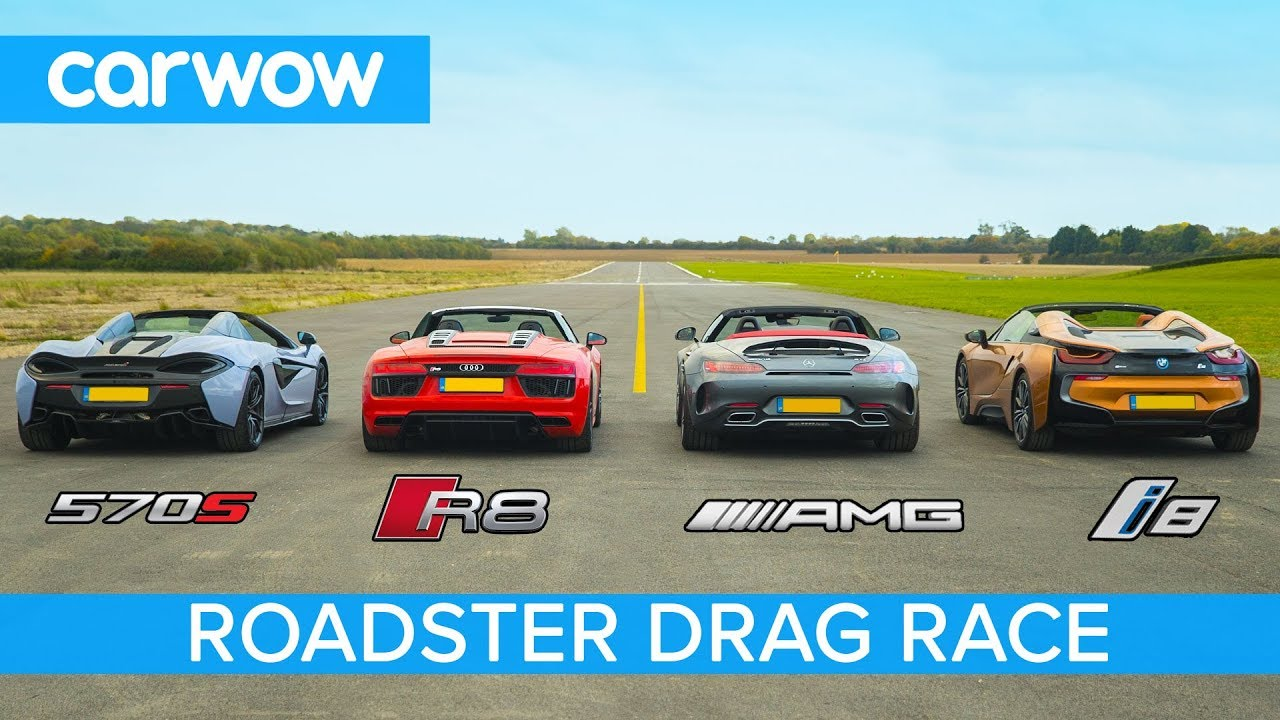 Amg Gt C Vs Audi R8 Vs Mclaren 570s Vs Bmw I8 Roadsters Roof Drag