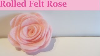 How to Make a Pink Rolled Felt Rose Flower Craft Tutorial