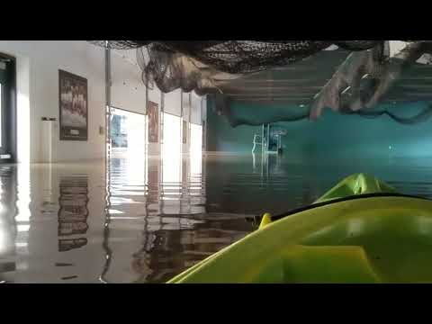 Kayking Flooded Michigan State University Baseball Stadium
