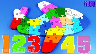 Учим цифры 1-26 | Учимся считать от 1 до 26| Учимся считать и складывать Пазл Самолет | Цифры 123