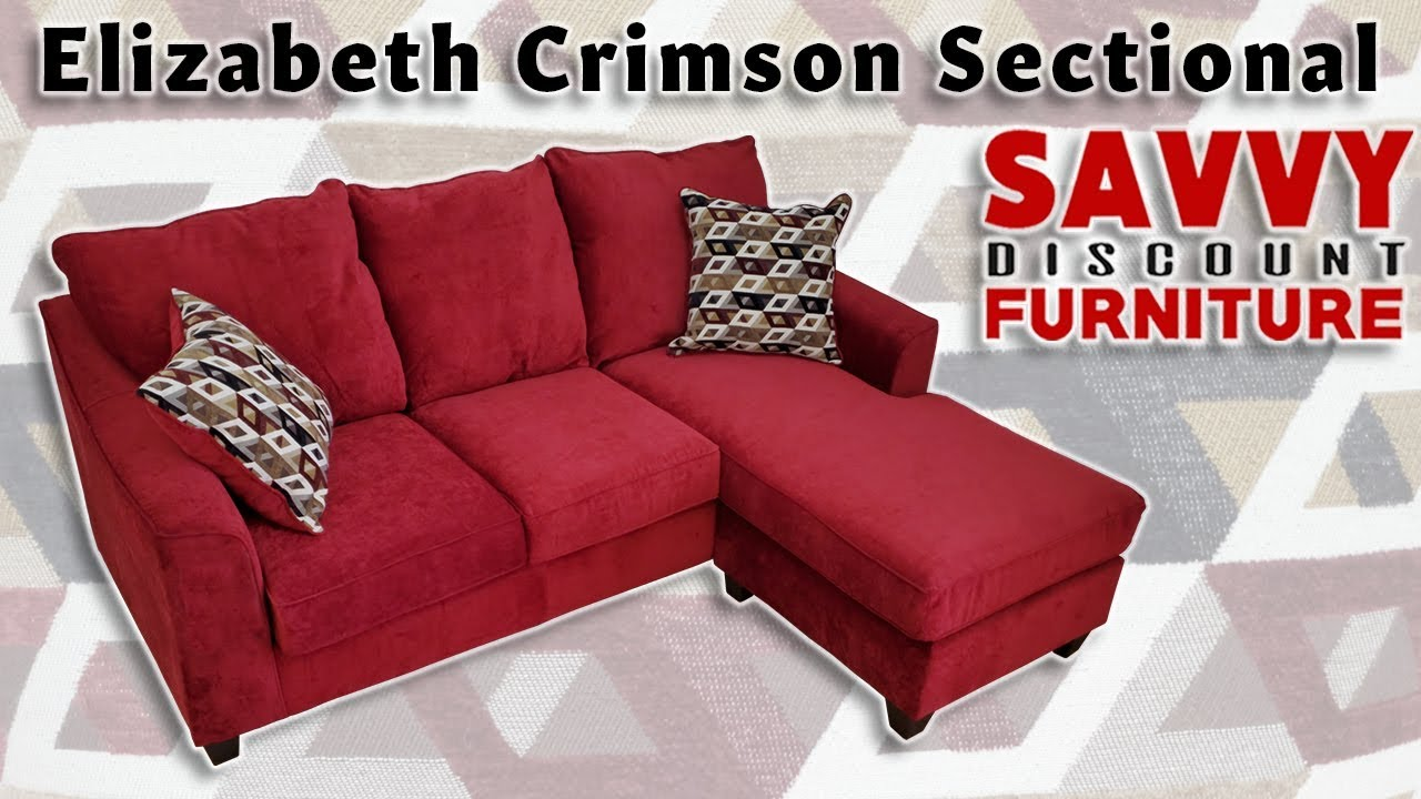 American Furniture Elizabeth Crimson Sectional With Reversible Chaise Youtube