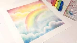 彩虹 簡易粉彩畫教學 // easy rainbow pastel art tutorial