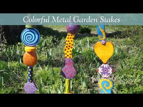 Colorful Metal Decorative Garden Stakes SKU# GO7822 - Wind & Weather