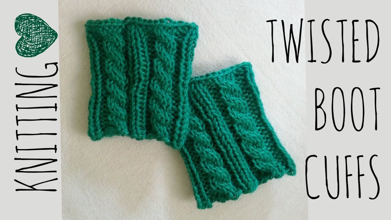 Twisted Boot Cuffs Knit Pattern Knitting Accessories Tutorial - YouTube