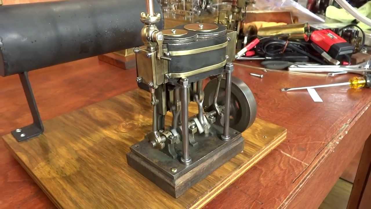 Compound Live Steam Engine Model test on air