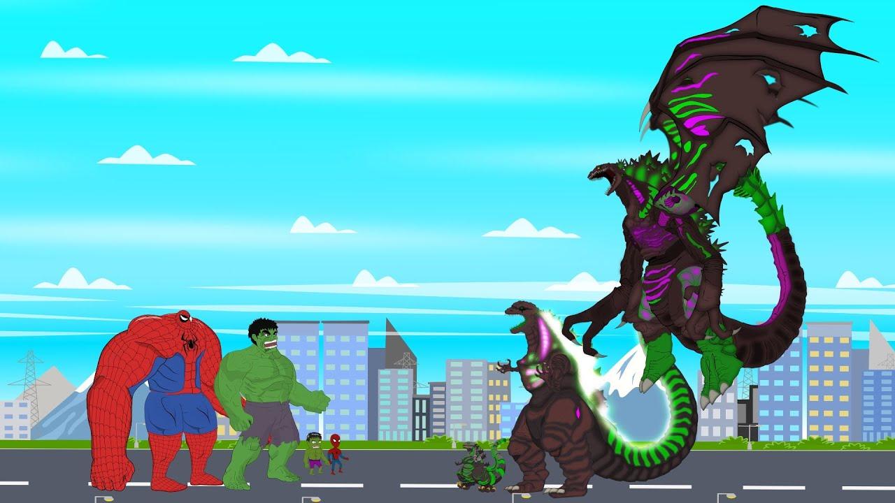 SPIDER HULK vs Shin Godzilla Evolution: Size Comparison | Super Hero & Godzilla Animation