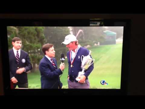 Crazy fan jumps in front of Webb Simpson in US Open interview - June 17 2012