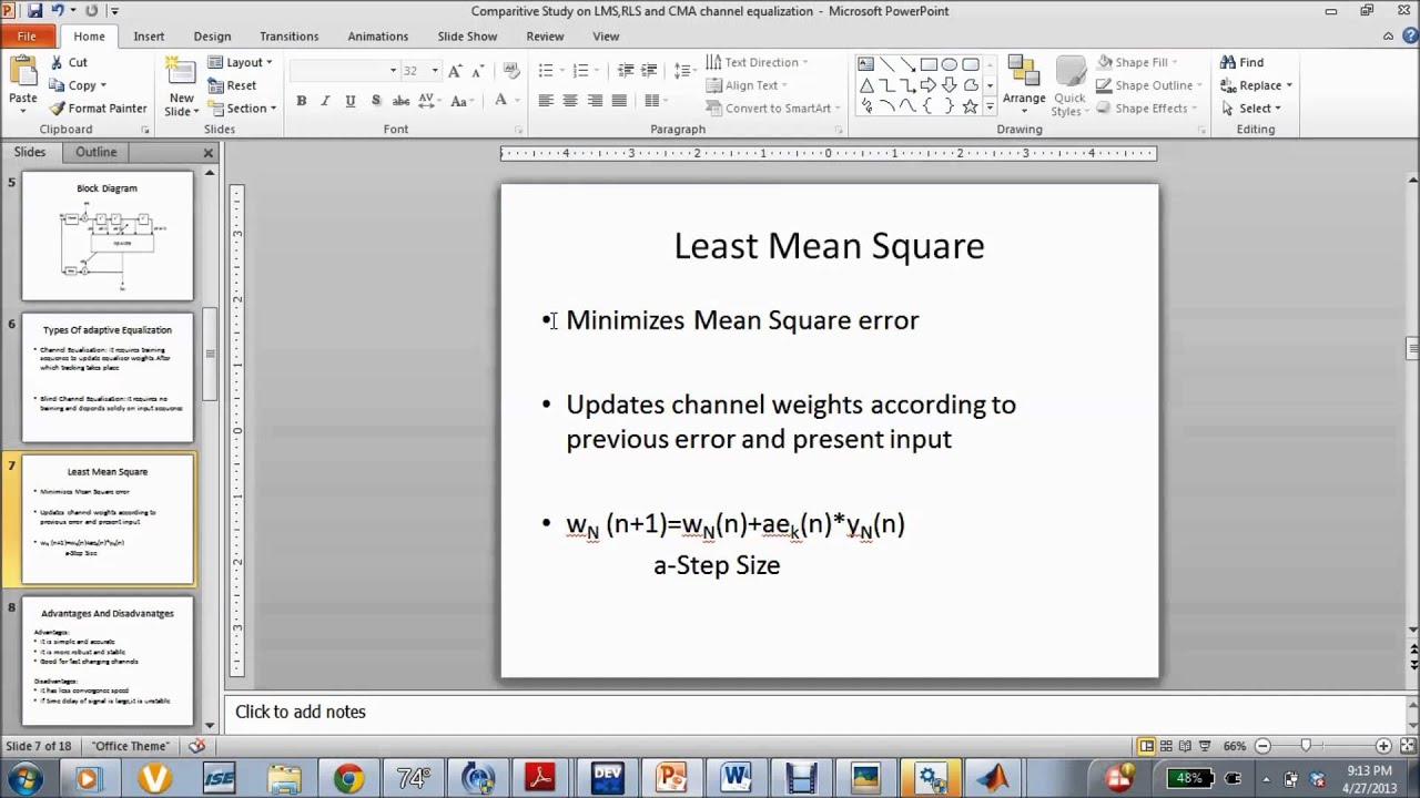 Ppt on smart antennas - Eel 6509 Comparitive Study On Lms Rls And Cla Equalization Part 1 Youtube