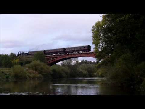 Caley 828 Crosses Victoria Bridge on the Severn Valley Railway