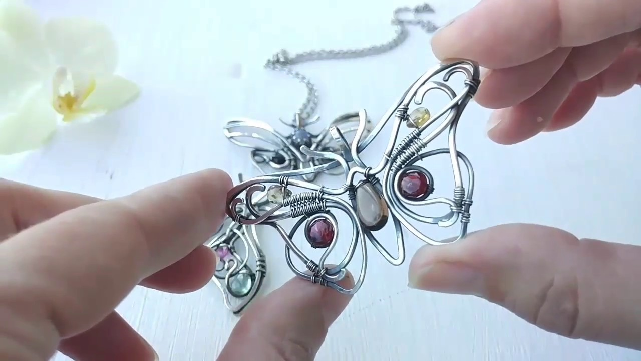 Wire silver necklaces Butterflies - YouTube