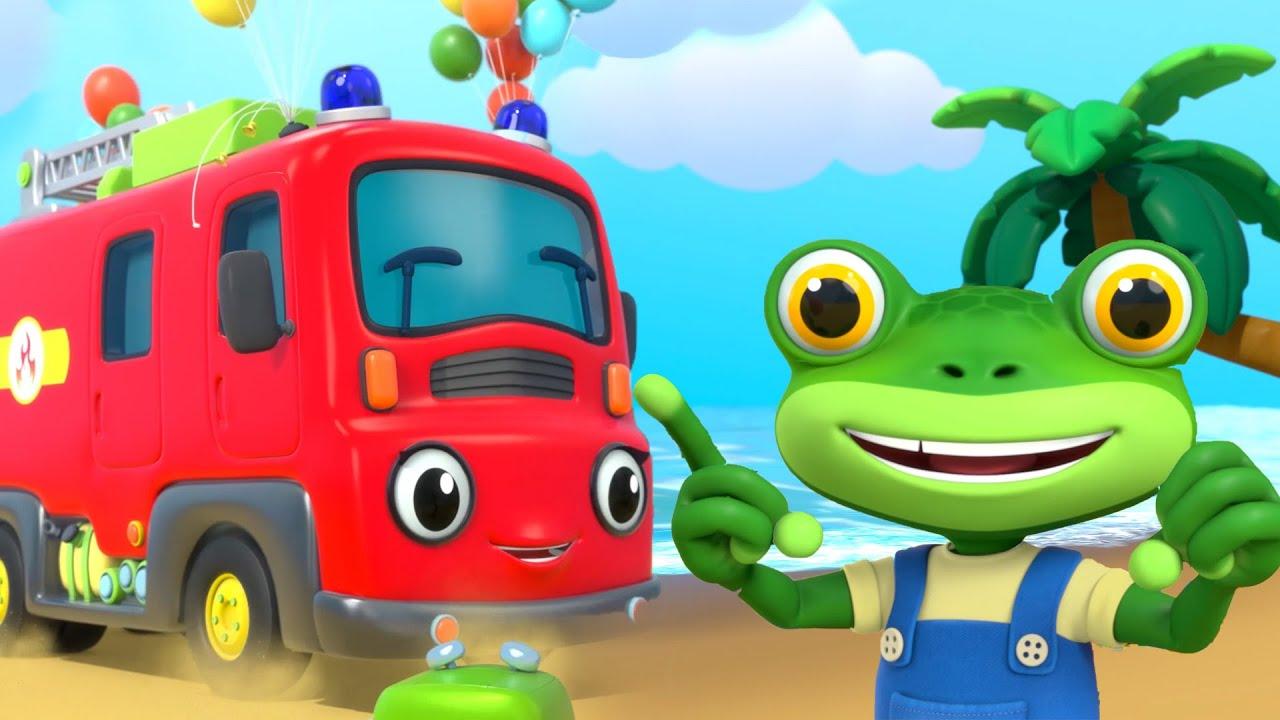 Flying Fire Truck - Beach Party  - Gecko's Garage | Kids Cartoons & Nursery Rhymes | Moonbug Kids