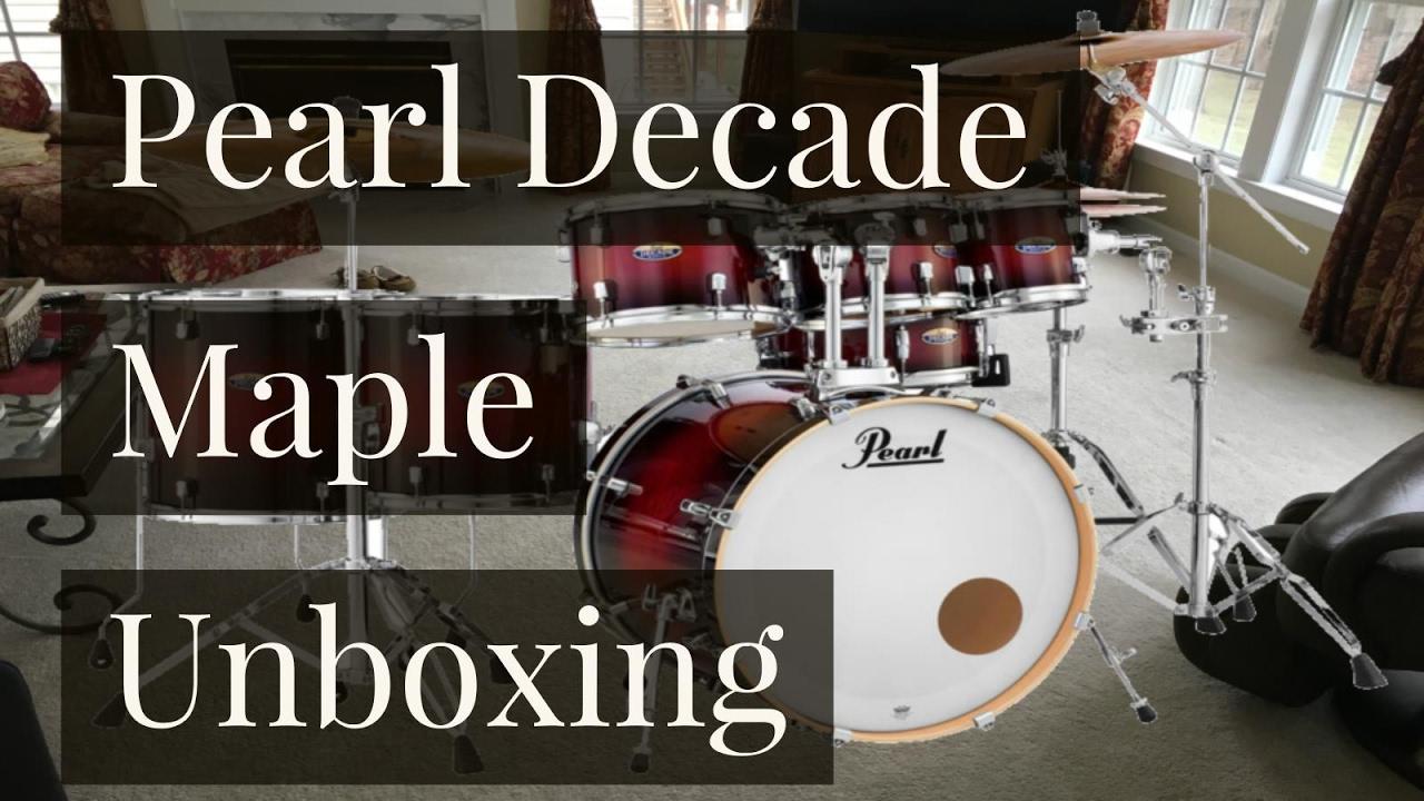 Pearl Decade Maple 7 Piece RedBurst Drum Set Unboxing