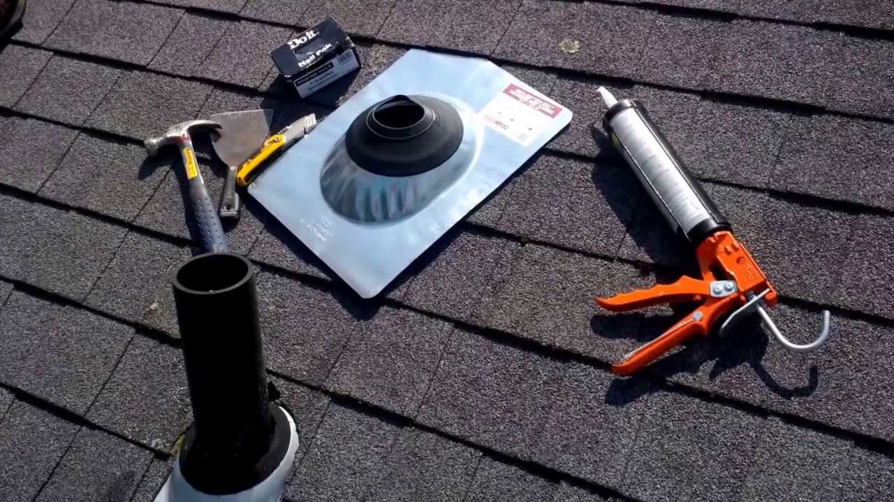 How to repair a leaky roof vent or vent stack pipe youtube for 3 bathroom vent cover