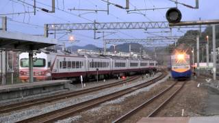 [HD] The three Taiwan TRA train at the Qidu Station (down train no. 145 and 1247, up train no. 122)
