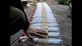 теплая грядка из пластиковых бутылок