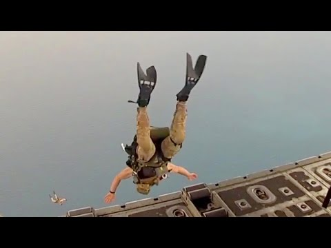 Air Force Pararescue Jumpers Jump Out Of C-130