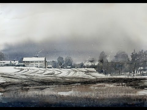 WATERCOLOR Winter landscape painting