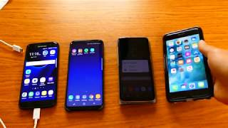 Battery test. Samsung S7 edge, Samsung S8 plus, Samsung S8 and Iphone 7 plus.