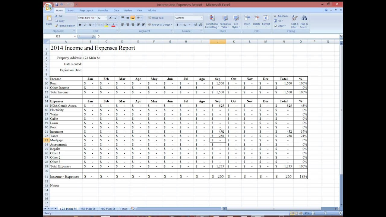 Re Tips Property Management Income And Expense Report