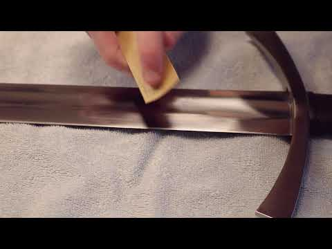 Removing Rust from Sword with 1000 Sandpaper