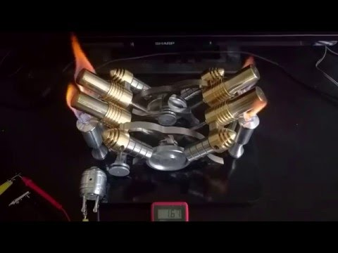 Quad Piston, Hot Air Stirling Engine with Voltage