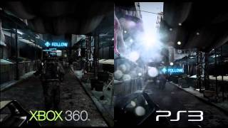 Battlefield 3 Comparison Video - PS3 vs 360 split screen