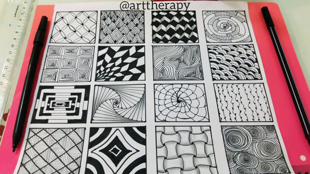 16 kolay zentangle/doodle desen ve çizimleri, karakalem çalışmaları