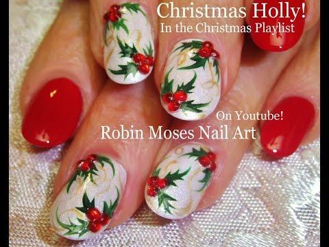 Easy Christmas Nail Art | Xmas Holly Nails On White Nails Design Tutorial thumbnail
