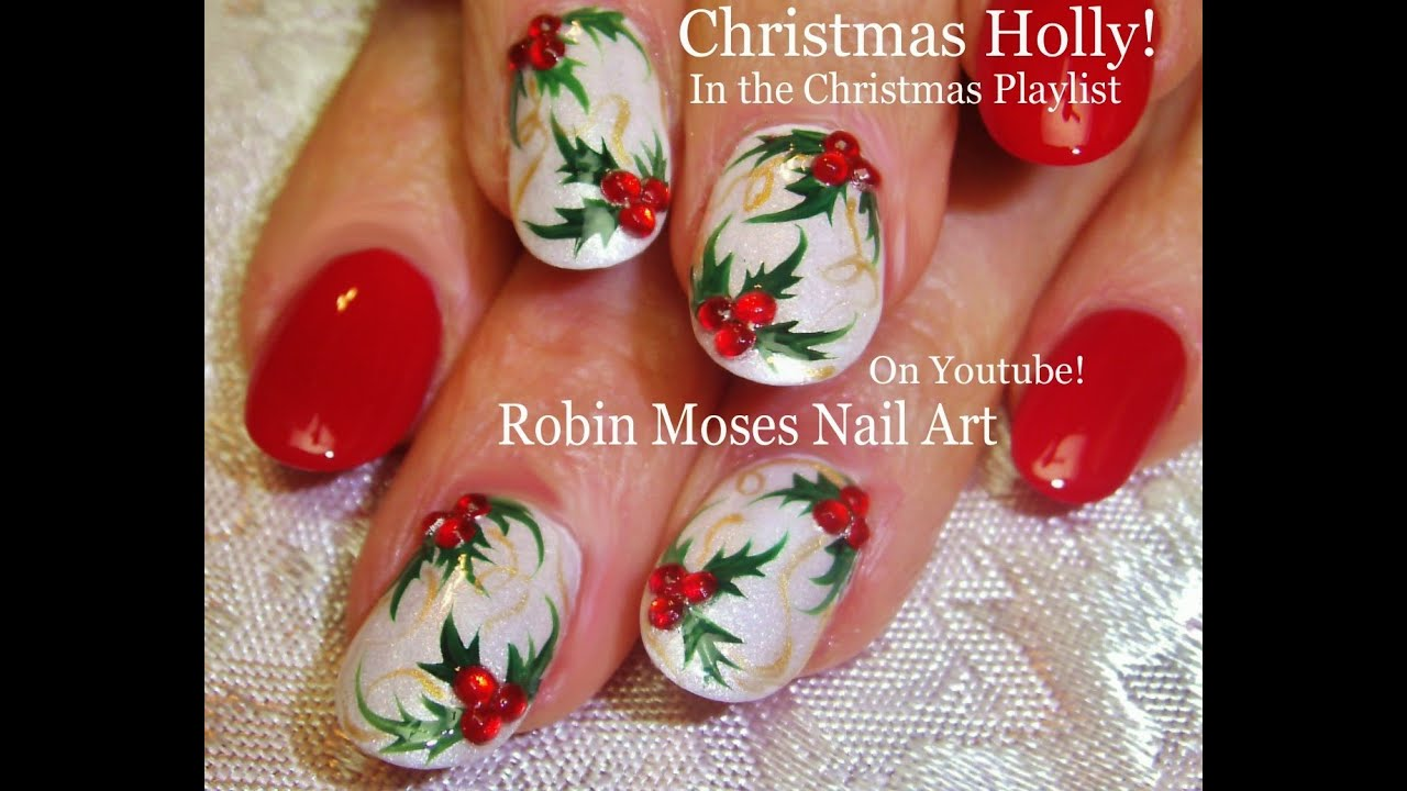 easy christmas nail art xmas holly nails on white nails design tutorial youtube