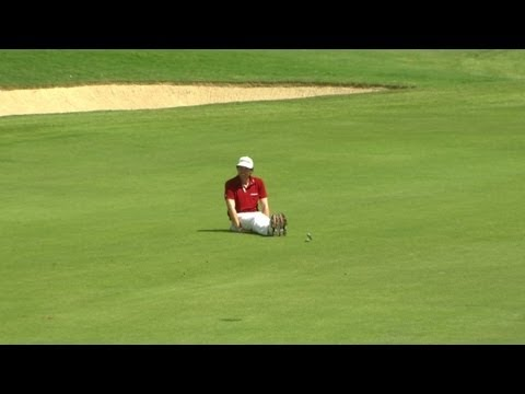 Keegan Bradley eagles No. 7 and celebrates by #Dufnering