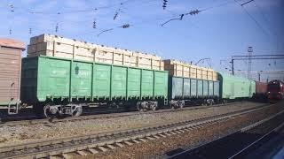 シベリア鉄道のコンテナ貨物列車