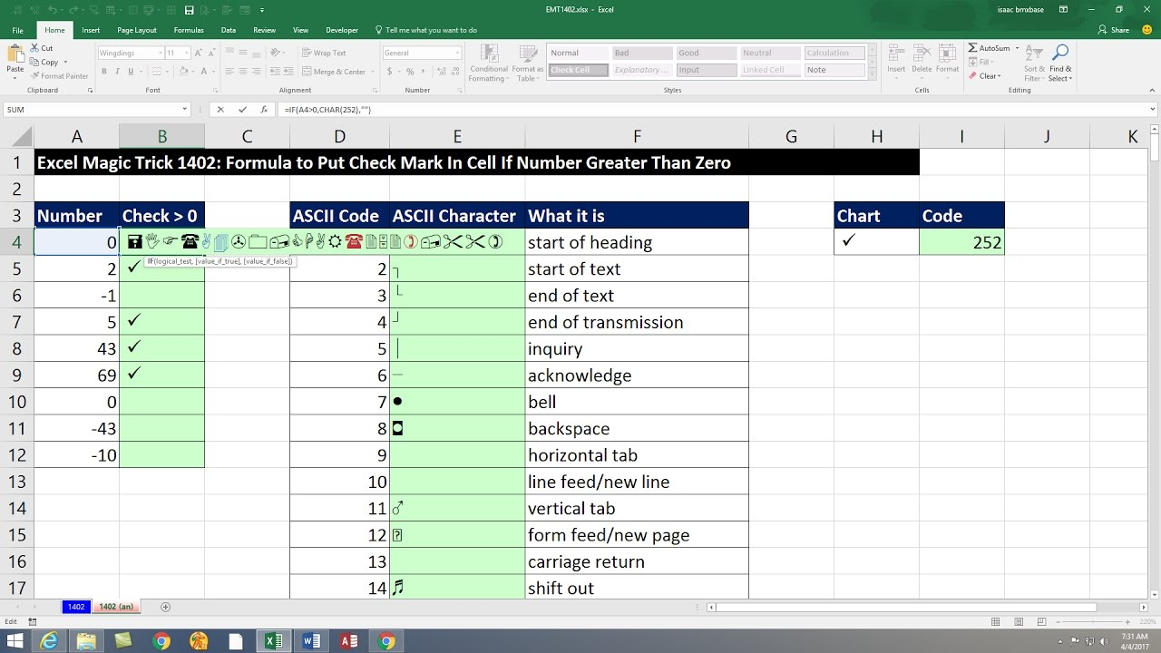 Excel Magic Trick 1402: Formula to Put Check Mark In Cell If Number Greater  Than Zero