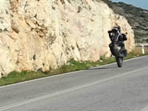 Wheeling on BMW R1100GS Greece Sounio